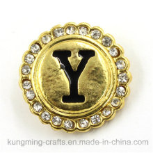 21mm Gold Letter Round Shaped Diamant Snap Button for DIY Bracelet