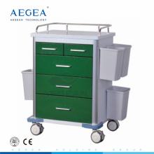 AG-GS002 Avec cinq tiroirs vert foncé série puissance revêtement acier médecine chariot