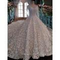 LS00152 long sleeve white v back china custom made wedding dress long trail wedding gown