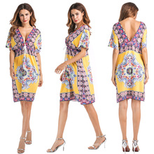 wholesale hot selling fashion ice silk clothing V-neck dress national costumes