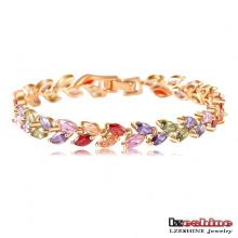 18k plaqué or feuille de zircon femmes bracelets