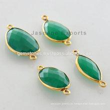 Venda Por Atacado Vermeil God Plated Green Onyx Bezel Links Fornecedores Vermeil de Contagem de Pedras Preciosas