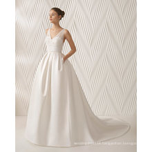 V Neck Sexy Beading Evening Satin Bridal Wedding Dress (RS014)
