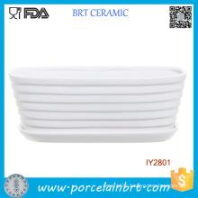 White Ceramic Ribbed Tub Design Pot Garden Plant Box