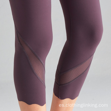 Leggings de gimnasia recortados con panel de malla