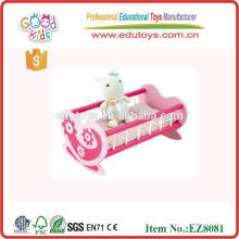 Wood Pretend Pay Toys Baby Rocking Bed Toy