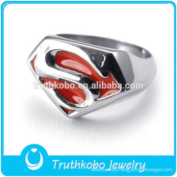 Superman Stainless Steel Ring Shiny Polish Fashion Red Enamel Stainless Steel Ring