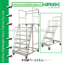 new multi-stairs metal plastic coating anti-rust trolley ladder