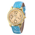 Vein Strap Rhinestone Leather Quartz Watch