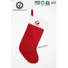High Quality Sock Bag Flannelette Christmas Bag with Embroidery Logo