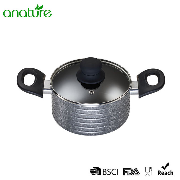 Two Ears Marble Aluminum Sauce Pot
