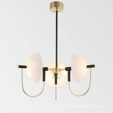Nordic Gold Semicircular Glass Shade Chandelier Home Living Room Pendant Lamp