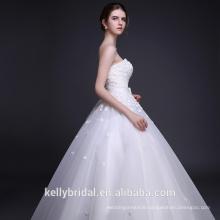 3D Flowers with Pearls Wedding Dress Sweetheart Neckline Bridal Gown Puffy Skirt Wedding Dress 2017