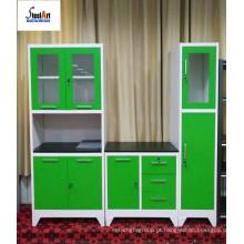 Furniutre de combinação para armário de cozinha em aço com portas de vidro