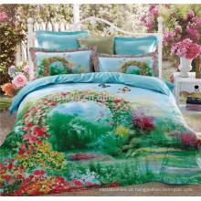 100% Algodão 40s * 40s 133 * 72 Reactive Imprimir cetim Quilted colchas Eden jardim conjunto de cama