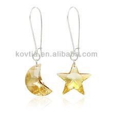 Lua personalizada e forma de estrela cristal pendurado brinco
