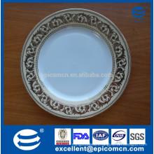 nice golden rim patterned ceramic serving plates
