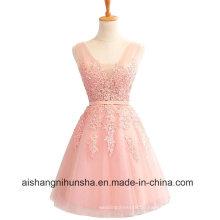 Elegante rosa Burgund Spitze kurze Applikationen Chiffon Mini Abendkleid