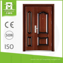 Barato exterior decorativo forjado doble puerta de hierro.