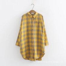 Blusas de camisa casual de manga larga pagadas para mujeres teñidas