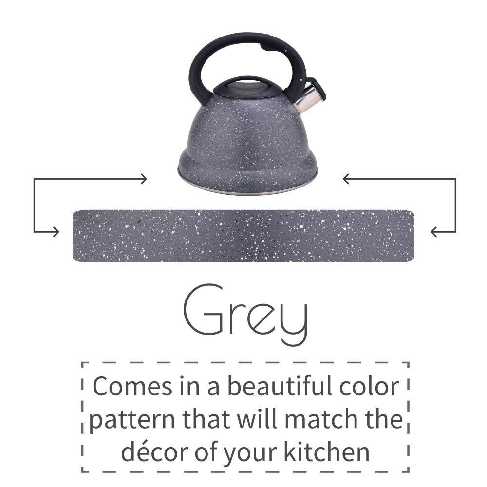 Grey Stainless Steel Whistling Water Kettle