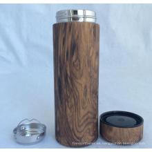 Taza de Thermos del grano de madera de la pared doble, nuevo diseño