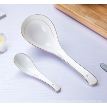 Long handle Porcelain spoon,white seving soup spoon with golden rim.