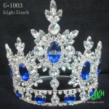Новый дизайн моды большого события красоты корона голубой Рейн камень тиара
