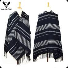 2016 Unisex Woven Acrylic Fashion Big Striped Shawl with Fringes