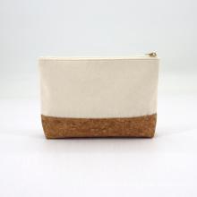 Custom Women OrganicCotton Cork Flat Makeup Cosmetic Bag Eco Friendly Nature Cork Toiletry Pouch