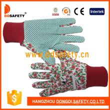 Ddsafety 2018 Women′s Flower Design Garden Gloves with Green Dots on Palm