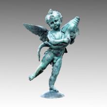 Large Bronze Garden Sculpture Cupid&Dolphin Brass Statue Tpls-014