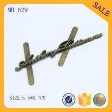 MB629 logo en laiton antiquité logo métal pour sac