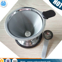 Washable and reusable Stainless steel pour over coffee dripper cone with coffee scoop