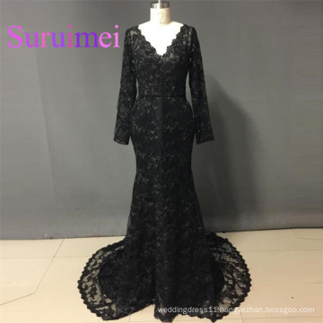 Black Prom Dresses vestiods de noiva Long Sleeves with Lace Evening Gowns