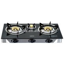 Glass Top Triple Burner table gas stove, gas cooker