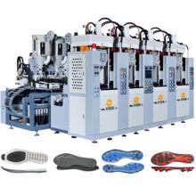 4 estaciones de doble color Tr. Máquina de Soles de PVC con Servo Motor