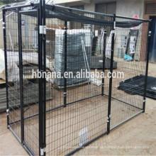 Canis de cão grande ao ar livre e gaiolas de cão e cão corre cerca do cão (fabricação)