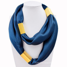 Best selling neckwear printing plain square infinity metal jewelry scarf
