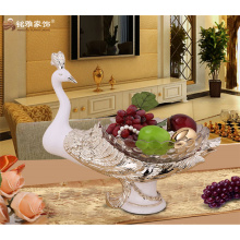 Western style household decrative goods resin craft peacock fruit plate fruit bowl fruit tray