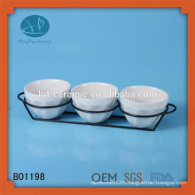 white dinnerware ceramic bowl with stainless steel,popular style tableware porcelain bowl,set of 3 side bowl
