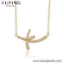 44512 collar al por mayor de la religión de la joyería de la manera collar cruzado del color oro 18k para las mujeres