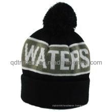 Popular Stripes Jacquard Cuff POM Ski Knitted Beanie Hat (TMK0190-1)