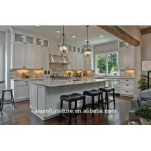 Blanco Shaker sólido de madera de abedul gabinete de cocina americana
