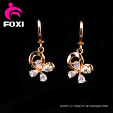 Flower Yellow Gold Plated Latest Hanging Earrings