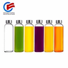 Brieftons Glass Water Bottles18 Oz Tapa a prueba de fugas de acero inoxidable, Soda Premium Lime, Mejor como botella de bebida reutilizable