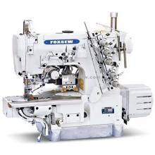 Máquina de intertravamento de cama de cilindro de acionamento direto para bainha com cortador lateral esquerdo e aparador automático