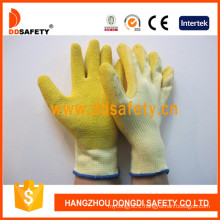Cotton Shell Latex Coating Crinkle Working Glove Dkl323