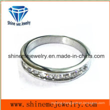 Jewelry Stainless Steel Ring Inlaid CZ Ring