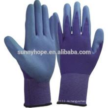 Farbige Nylon halb getauchte Schaumnitril beschichtete Handschuhe